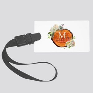 Floral Wood Wedding Monogram Luggage Tag