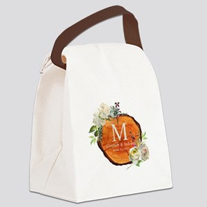 Floral Wood Wedding Monogram Canvas Lunch Bag