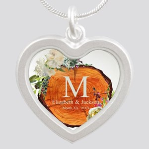 Floral Wood Wedding Monogram Necklaces