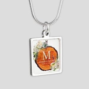 Floral Wood Wedding Monogram Necklaces