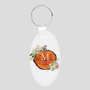 Floral Wood Wedding Monogram Keychains