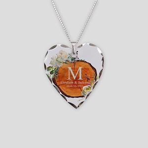 Floral Wood Wedding Monogram Necklace