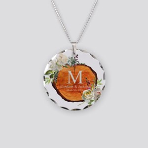 Floral Wood Wedding Monogram Necklace