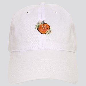 Floral Wood Wedding Monogram Baseball Cap