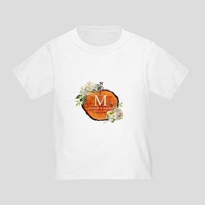 Floral Wood Wedding Monogram T-Shirt