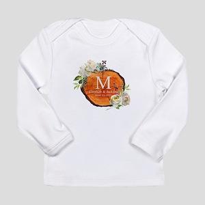Floral Wood Wedding Monogram Long Sleeve T-Shirt