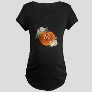 Floral Wood Wedding Monogram Maternity T-Shirt