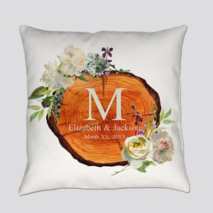 Floral Wood Wedding Monogram Everyday Pillow