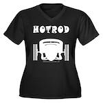HOTROD FRONT Women's Plus Size V-Neck Dark T-Shirt