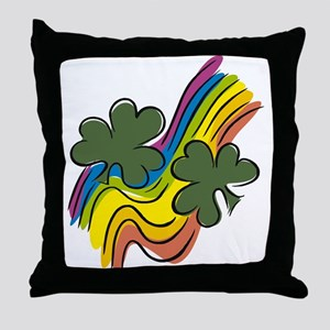 CLOVERS & RAINBOW Throw Pillow