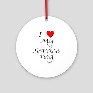 I Love My Service Dog Ornament (Round)