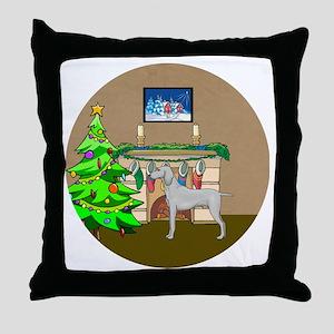 A Weimaraner Christmas Throw Pillow