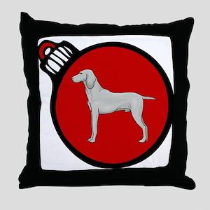 Red Weimaraner Christmas Throw Pillow