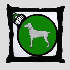 Green Weimaraner Christmas Throw Pillow