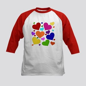Rainbow Hearts Kids Baseball Jersey