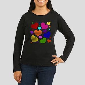 Rainbow Hearts Women's Long Sleeve Dark T-Shirt