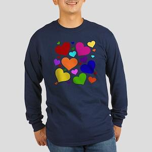 Rainbow Hearts Long Sleeve Dark T-Shirt