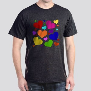 Rainbow Hearts Dark T-Shirt