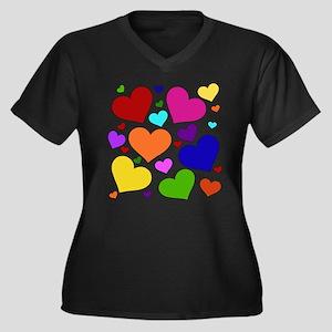 Rainbow Hearts Women's Plus Size V-Neck Dark T-Shi