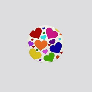 Rainbow Hearts Mini Button