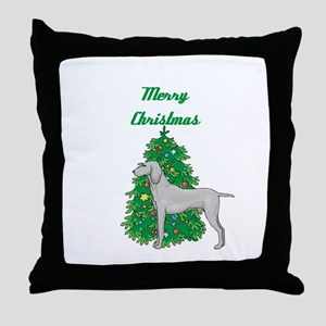 Merry Christmas Weimaraner Throw Pillow