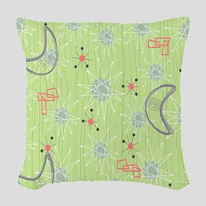 Boomerangs on Celery Green Woven Throw Pillow