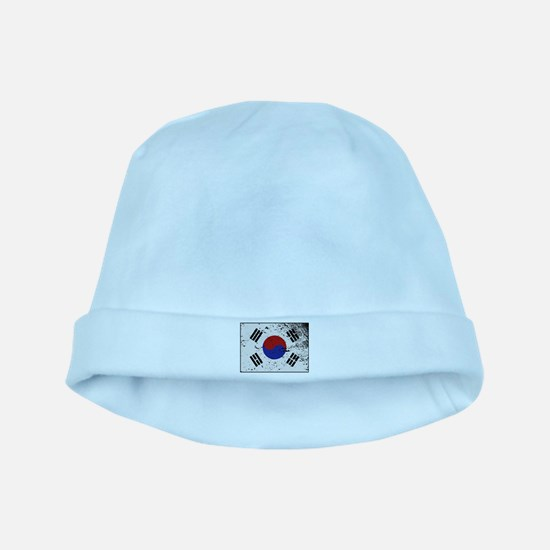South Korea Flag Grunged Baby Hat
