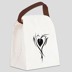 Black Heart Canvas Lunch Bag