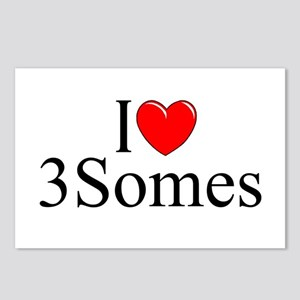 """""""I Love (Heart) 3Somes"""" Postcards (Package of 8)"""