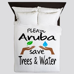 Please Aruba Save Trees & Water Queen Duvet