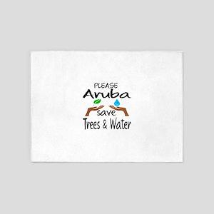 Please Aruba Save Trees & Water 5'x7'Area Rug
