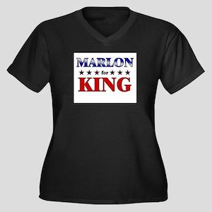 MARLON for king Women's Plus Size V-Neck Dark T-Sh