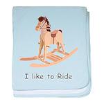rocking_horse I like to ride baby blanket