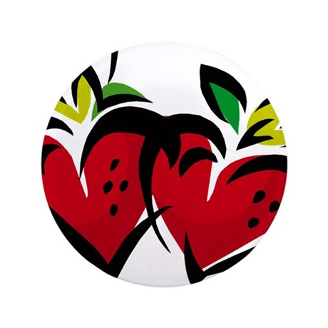 """DOUBLE STRAWBERRY HEARTS 3.5"""" Button"""