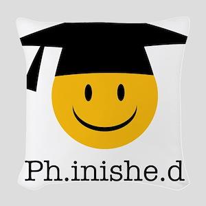 phd smiley Woven Throw Pillow