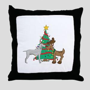 Reindeer & Weimaraner Christmas Throw Pillow
