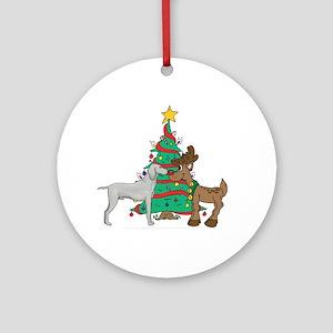Reindeer & Weimaraner Christmas Ornament (Round)