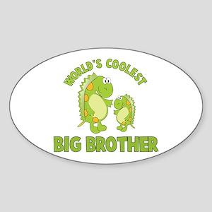 world's coolest big brother dinosaur Sticker (Oval