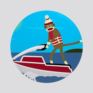 Sock Monkey Jet Ski Ornament (Round)