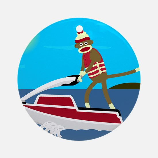 Sock Monkey Jet Ski Ornament (Round)