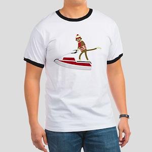 Sock Monkey Jet Ski Ringer T-Shirt