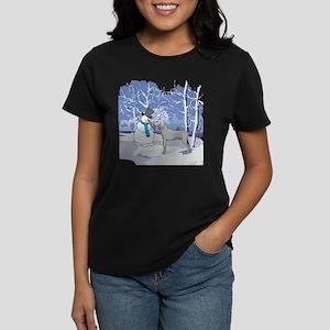 Snowman & Weimaraner Women's Dark T-Shirt