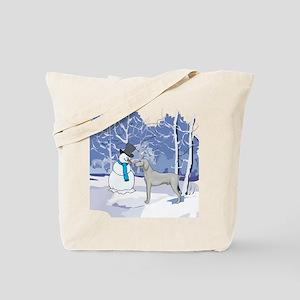 Snowman & Weimaraner Tote Bag
