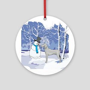 Snowman & Weimaraner Ornament (Round)