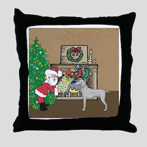 Santas Christmas Gift For A Weimaraner Throw Pillo