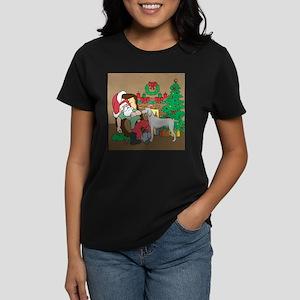 Santa Has A Weimaraner Christmas Women's Dark T-Sh