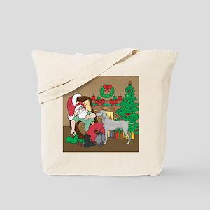 Santa Has A Weimaraner Christmas Tote Bag