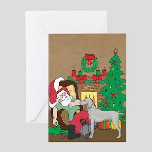 Santa Has A Weimaraner Christmas Greeting Card