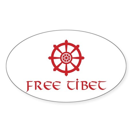 Dharma Wheel Free Tibet Oval Sticker