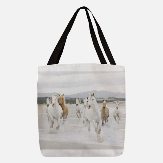 Horses Running On The Beach Polyester Tote Bag